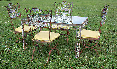Vintage Woodard Wrought Iron Patio / Sun room Dining Set Table & Chairs - Nice!