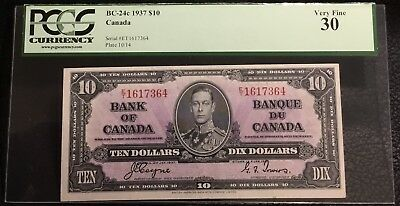 1937 $10 CANADA. BANK OF CANADA - BC-24c - PCGS VF 30.  INV# N-111