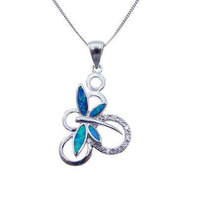 Big Size Sterling S925 Inlay Blue Opal Hawiian Dragonfly Retro Insects Pendant
