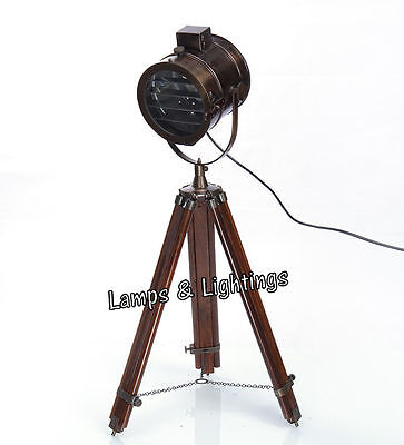 Paradisenauticals Antique Wooden Tripod Floor Lamp Home & Commercial Lighting