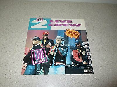 "THE 2 LIVE CREW Live In Concert 1989 PROMO ONLY 12.5"" Album Poster RARE Bass-Rap"