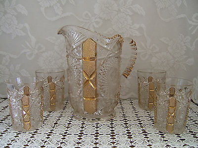 Antique Pressed Glass Pitcher with 4 Tumblers