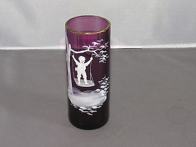 Antique? Mary Gregory Amethyst Glass Bud Vase, Boy on Swing