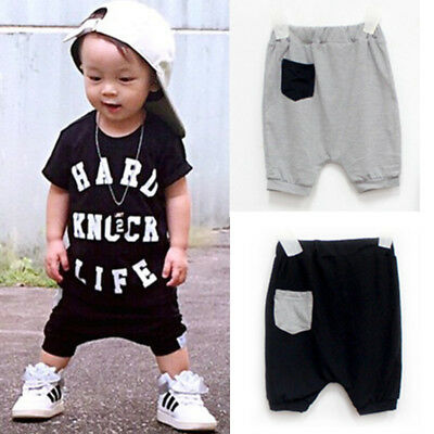 Toddler Infant Kids Baby Boy Girl Baggy Harem Pants Trousers Crop Shorts Bottoms