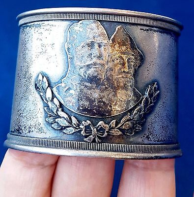 Russian Antique Silver Napkin Ring NicholasII and Mikhail Fedorovich,300years