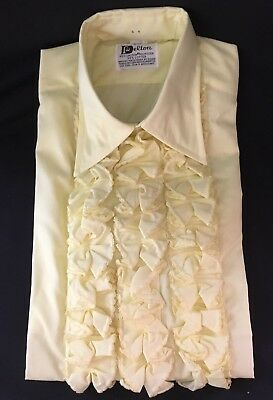 Vintage New Delton 70s Retro Yellow Ruffle Tuxedo Shirt Size Small (14-14.5) S 6
