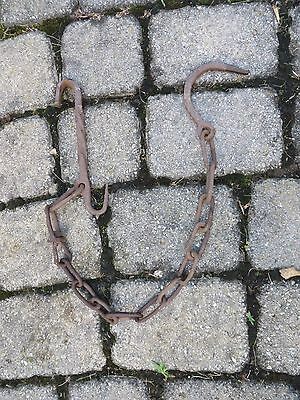 1800 antique HAND FORGED TRAMMEL CHAIN  kettle fireplace blacksmith