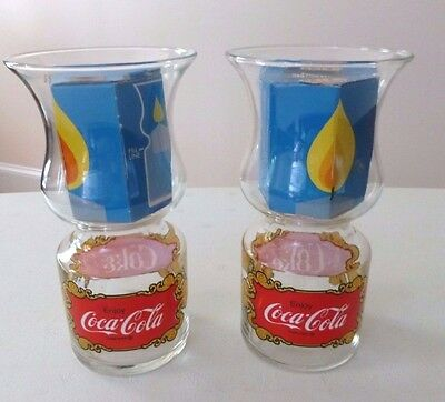 Vintage Lot Of 2 LIBBEY 1970's Coca-Cola Coke Floating Glass Candle Holders NEW
