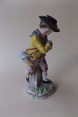 Antique Sitzendorf Figurine of a Boy with Rabbit and Goose