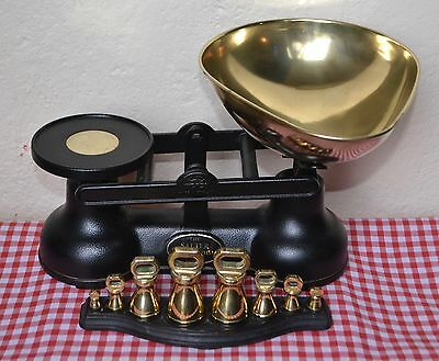 """English """"the Salter"""" Black Cast Iron Kitchen Scales 8 Metric Weights On A Tray"""