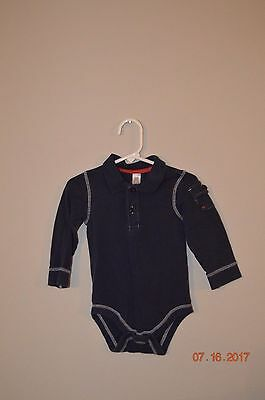 Baby Gap Boys Size 18-24 Months Navy Blue Polo Bodysuit Long Sleeve