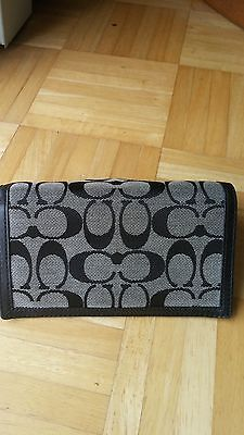 "Coach Signature ""C"" Checkbook Cover/Wallet Black/Gray-Great Condition-Free Ship!"