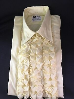 Vintage New Delton 70s Retro Yellow Ruffle Tuxedo Shirt Size Small (14-14.5) S 4