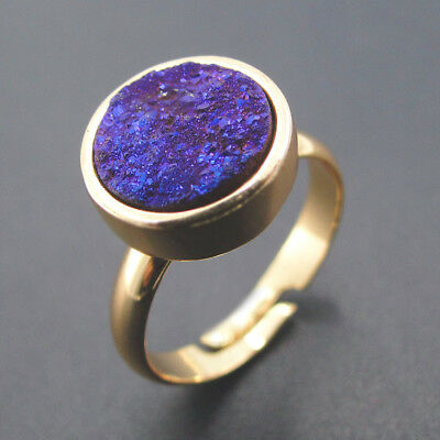 Abjustable Finger Ring Pave Round Halo Amethyst Druzy Agate For Valentine's Day
