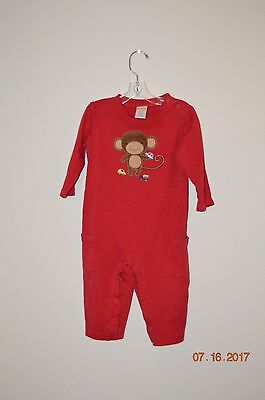 Gymboree Outlet Boys Size 12-18 Months Red Ls Romper One Piece Monkey Cars