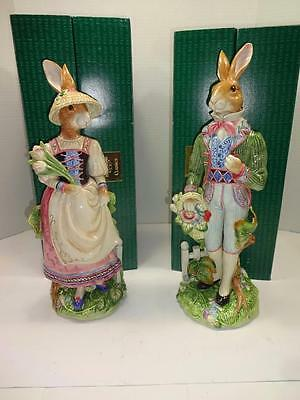 "Fitz And Floyd Old World Rabbits Male & Female. 17"" Mint & Stunning!"