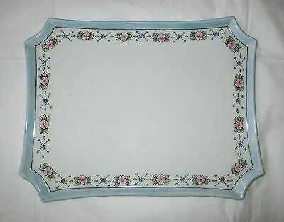 "William Guérin Limoges 8.75"" Dresser Tray Hand-Painted Pink Flowers, Blue Luster"