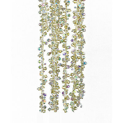 Kurt S. Adler 9' Acrylic Iridescent Gold Twinkle Ice Double Twist Bead Garland