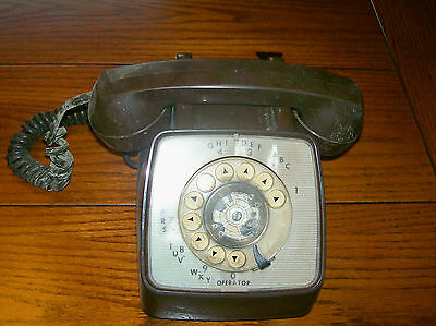 vintage rotary telephone desk top GTE Automatic Electric works brown