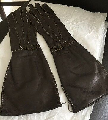 Chanel Brown Kid Leather Long Musketeer Gloves with Signed Buckle Size 6 New
