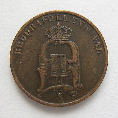 1879  Sweden  2  Ore  Coin  -  Very  Fine  Condition