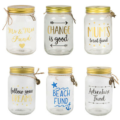 Mr & Mrs Dreams Travel Glass Saving Jar Adventure Fund Piggy Bank Money Box Tin