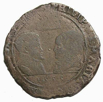 Ireland 1555 Philip And Mary Silver Shilling Medieval Coin S.6500