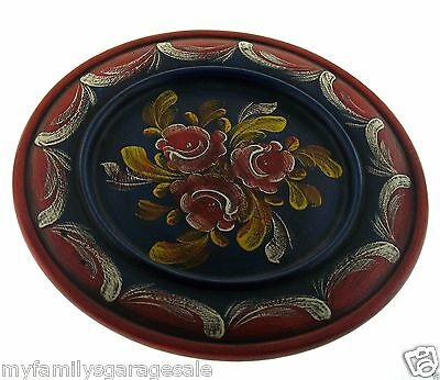 """Swiss REUGE Music Box Wood Carved Rotating Plate ~ Plays Romeo & Juliet 10"""" Wide"""