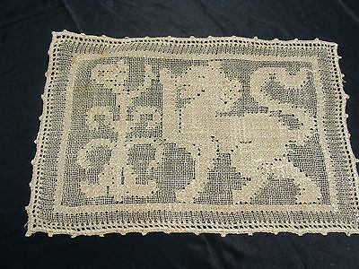 "Set of 6 Vintage Italian Handmade Lace Table Place Mats 10"" X 16""  ~ Gryphon"