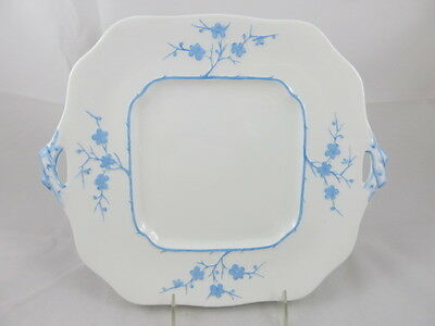 "Spode Blanche De Chine ""Geisha""  Light Blue Square 2 Handled Cake Plate 11"""