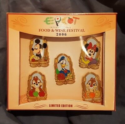 Disney Pin Set of 5 Food and Wine 2006 Box Chip Dale Mickey Minnie Donald RARE