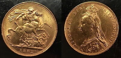 1892 Jubilee Variety Gold Queen Victoria Sovereign--Lustrous Old--Old High Grade