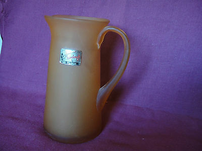 "Handcrafted Pilgrim Mid-Century Amber Honey Glass Pitcher Creamer 6.75"" Frosted"