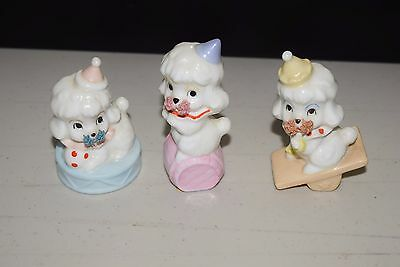 Enesco Poodle Vintage Poodles Dogs Dog Figurine White Circus - Lot Set of 3