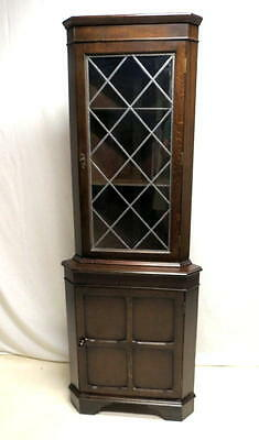Antique Edwardian Gothic Oak Corner Cabinet China Display Curio w/ Leaded Glass