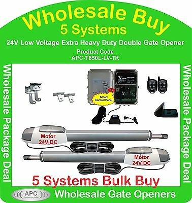 Bulk Buy of 5 x 24V Low Voltage Extra Heavy Duty Double Gate Automation Kits