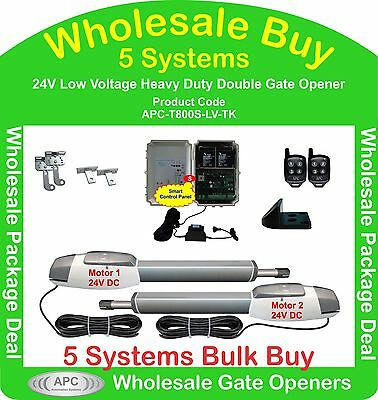 Bulk Buy of 5 x 24V Low Voltage Heavy Duty Double Actuator Gate Automation Kits