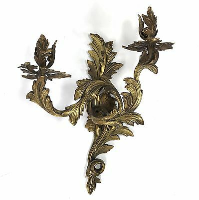 Vintage Antique Cast Metal Floral Wall Sconce 2 Candle / Lights Brass-Tone