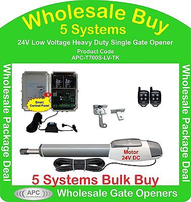 Bulk Buy of 5 x 24V Low Voltage Heavy Duty Single Actuator Gate Automation Kits