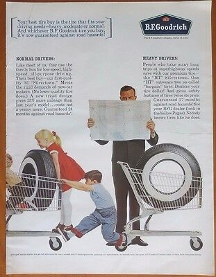 BF GOODRICH Tires  Print  Ad 1960's  Vintage Advertising Kids Playing White Wall