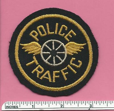 Old Vintage Police Traffic Double Wing & Wheel Circle Felt Patch - Unknown State