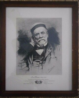 Vintage Reproduction of Louis Pasteur from Etching by Fernand Desmoulin w frame
