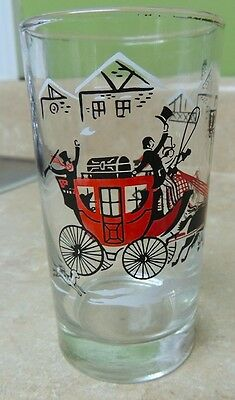 "Libbey Currier & Ives Horse & Buggy Vintage Glass 4.75"" Tall - Drinking"