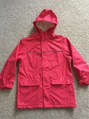 Lands End Youth Girl Pink Hooded Raincoat Size M 5-6