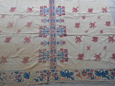 1800's Antique Esoteric Embroidered Panel Phonix Bird Altar Cloth Tapestry