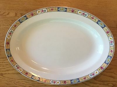Early 20th C. W. H. Grindley & Co. England Oval Platter Floral Geometric Decal