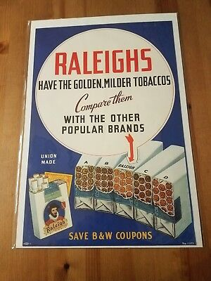VTG Original Raleigh Cigarettes Sign Poster Tobacco Advertising - Neat Graphics!