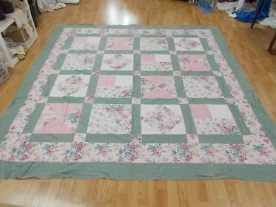 A+ HUGE Vintage GREEN PINK RED BLUE FLOWER HAND SEWN 92x97 Quilt Block Top