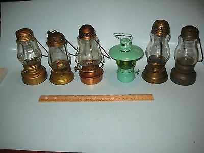 "Old Collection of 6 Antique ""Skaters"" Oil Lamps: Perko, Dietzboy, Hilco, plus 3"