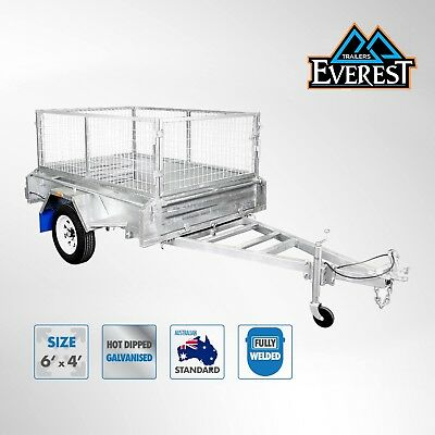 FULLY WELDED GALVANISED 6X4 BOX TRAILER WITH 600MM CAGE Brisbane North